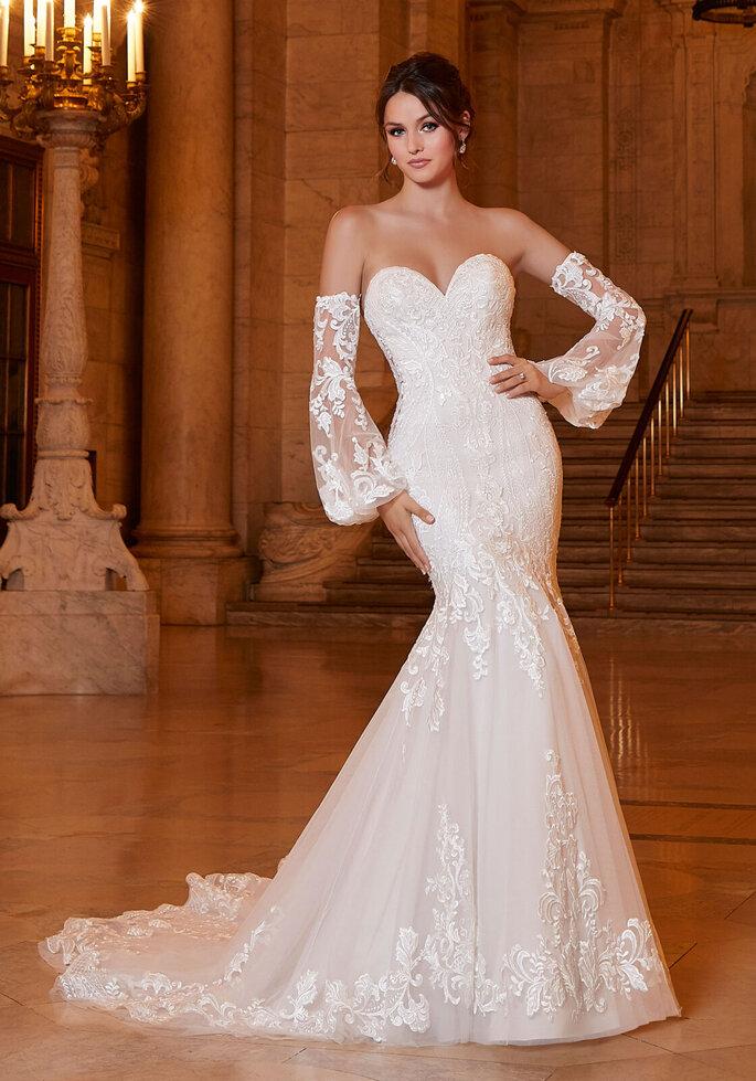Vestido de novia corte sirena y mangas sueltas