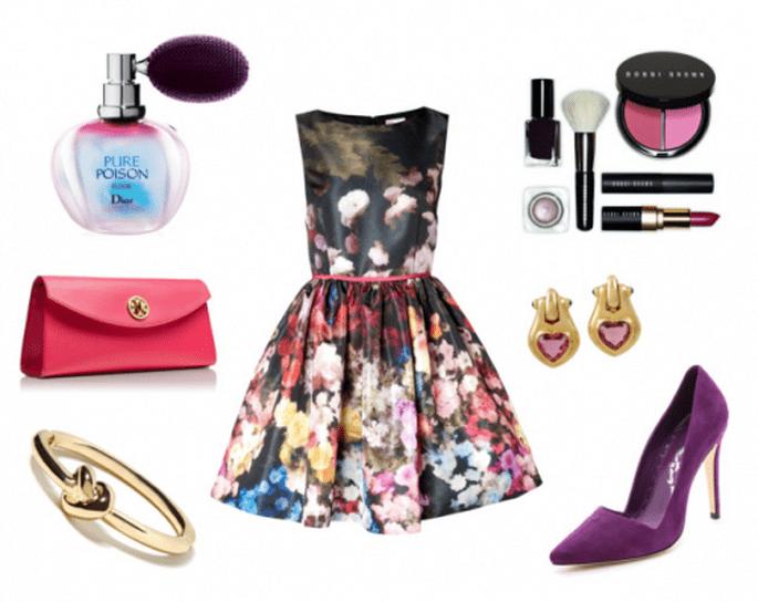 Look de fiesta con inspiración floral: Fotos: vestido de Valentino, zapatos de Alice + Olivia, maquillaje de Bobbi Brown, clutch de Tory Burch, aretes de Bylgari y perfume de Dior