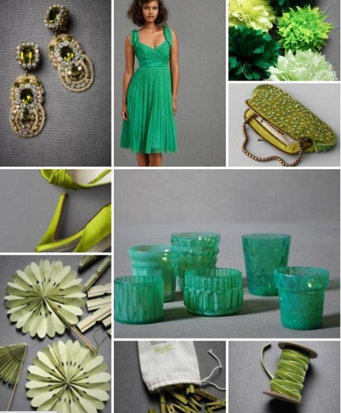 Paleta de colores verdes para boda orgánica