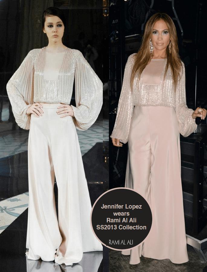 Jennifer Lopez splendida con un modello del designer siriano.Foto via Facebook Fanpage Rami Al Ali Couture
