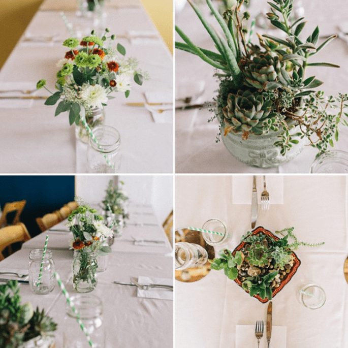 Distintos centros de mesa para cada mesa de boda. Fotografía Sweet Little Photographers