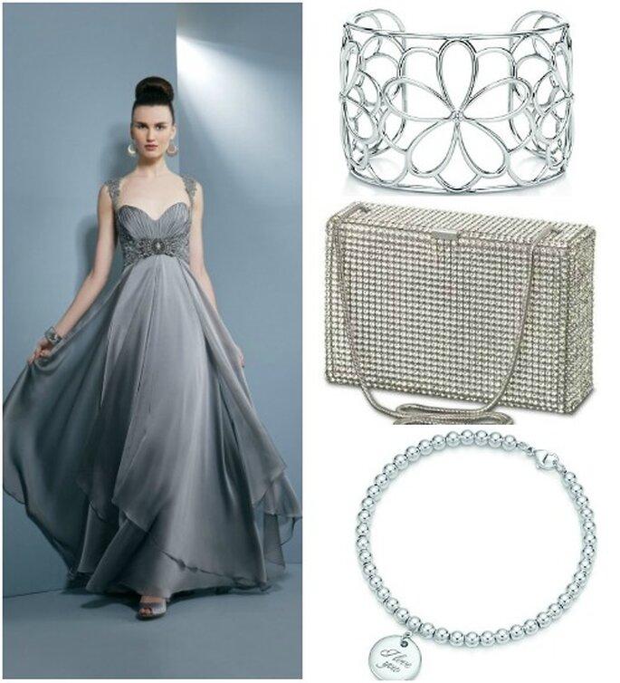 Abito taglio impero Demetrios Evening. Bracciali Tiffany & Co.,clutch rettangolare completamente ricoperta di cristalli Swarovsky