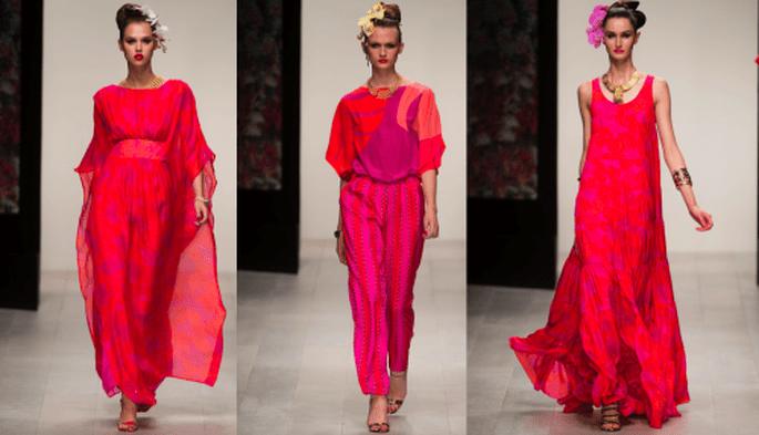 vestidos y conjuntos de fiesta en color rosa intenso con estampados y telas holgadas - Foto Issa