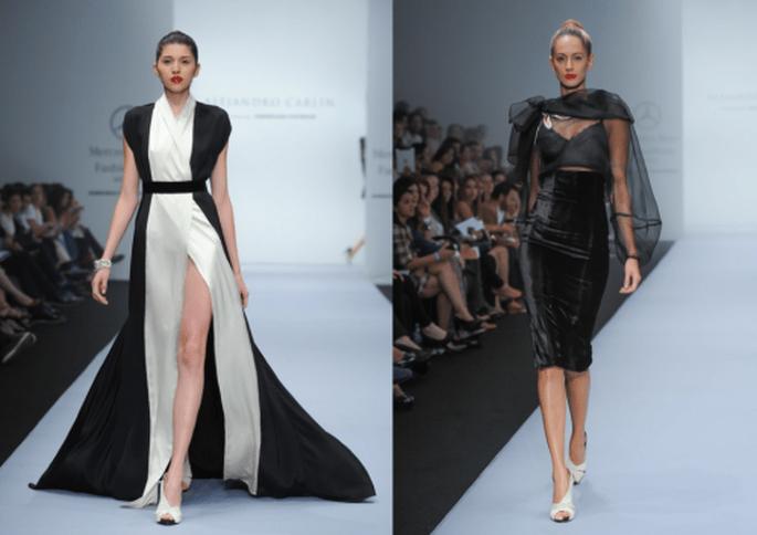 Conjuntos para fiesta con detalles en color marfil y transparencias - Foto Mercedes Benz Fashion Week México