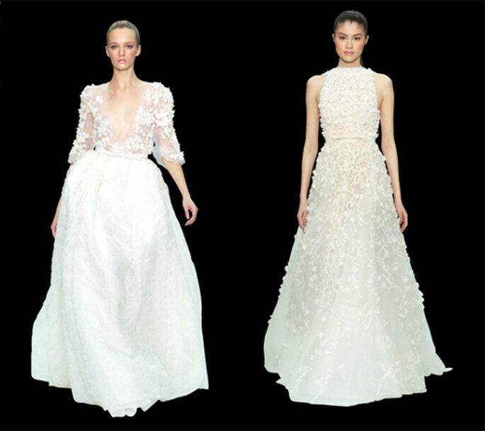 Vestidos de gala largos en color blanco - Foto: ElieSaab.com