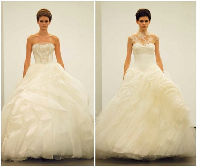 Corpetti lavorati e gonne multistrato in organza e tulle,mix perfetto per la sposa romantica. Vera Wang Fall 2013 Bridal Collection. Foto: www.verawang.com