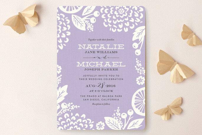 Invitaciones de boda en color lavanda - Minted