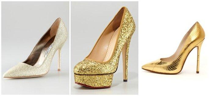 Pures merveilles ces chaussures dorées... Gauche: Manolo Blahnik, Charlotte Olympia et Jimmy Choo. Photo: www.neimanmarcus.com