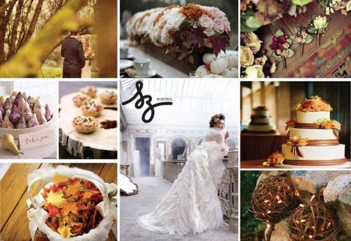 Collage de inspiración para decorar una boda en otoño. Fotos de Ruffledblog, Accentphotographics, Heavenlybloomsblog, Bridalbubbly, Weddinginspirasi