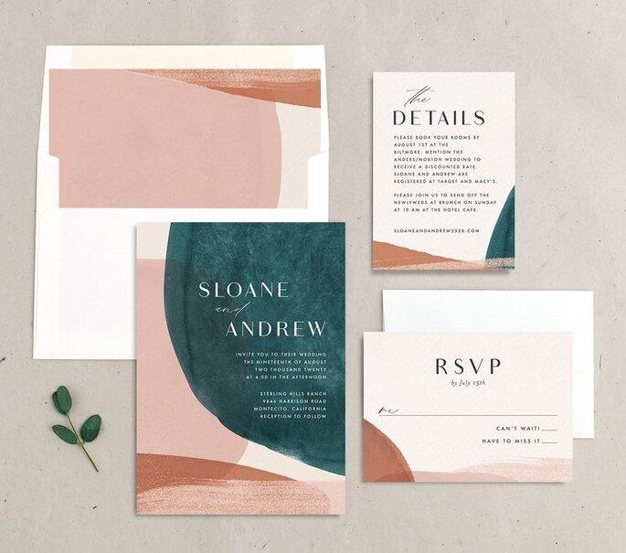 Hochzeitseinladungen Trends minimalistisch modern mit geometrischen Elementen