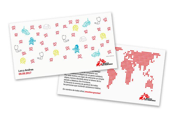 Tarjetas personalizadas Médicos Sin Fronteras