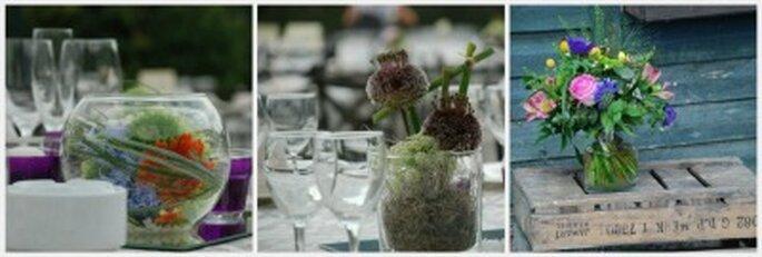 Usa recipientes de vidrio con flores naturales o velas para decorar las mesas. Fotos: Verde pimienta