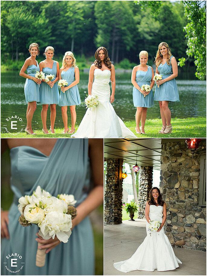 Madrinas con vestidos cortos en una boda al aire libre. Foto: Lea-Ann Belter / Joe Elario