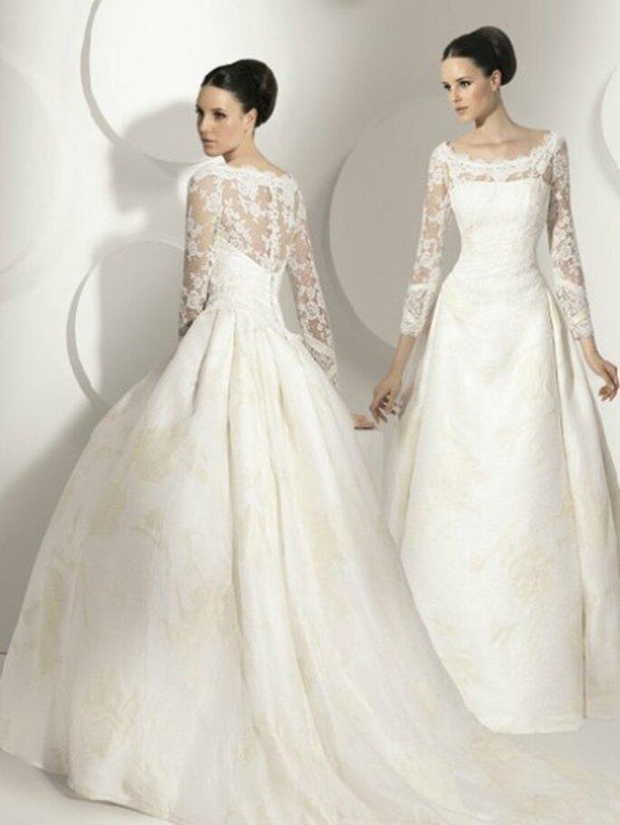 Vestido de novia 2012, corte princesa con encaje chantilly en escote y mangas largas. By Franca Sarabia