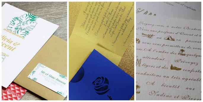 Photo de gauche : Be my Paper / Photo du centre : Camille 2 z'ailes E / Photo de droite : The Vintage Ink.