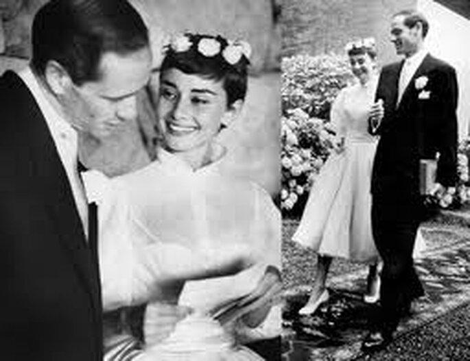 6. Audrey Hepburn lució un largo vestido de Balmain cuando se casó con Mel Ferré.