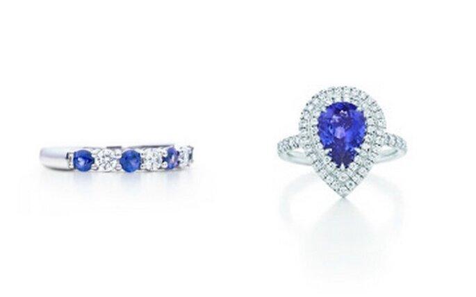 Anillos en platino. Izquierda: diamantes y zafiros; Derecha: diamantes y tanzanita. Fotos: Tiffany & Co.