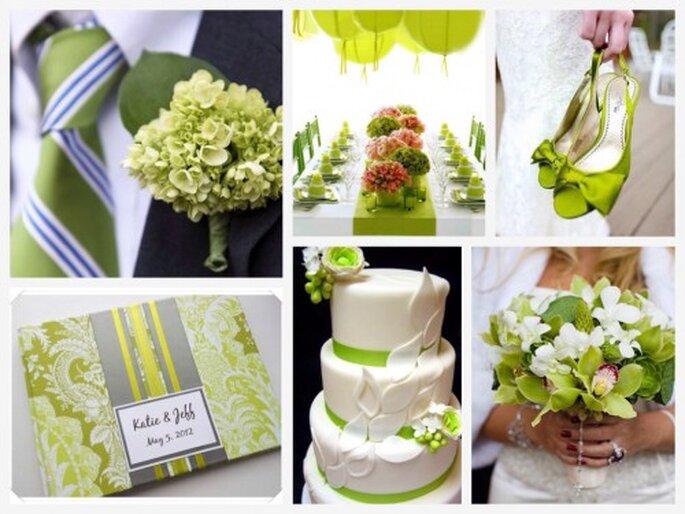Decoración de bodas con el tono cerde de las plantas - Foto Groom's tie & bout, Green place settings, Green shoes, Green guest book, Wedding cake, Bride's bouquet