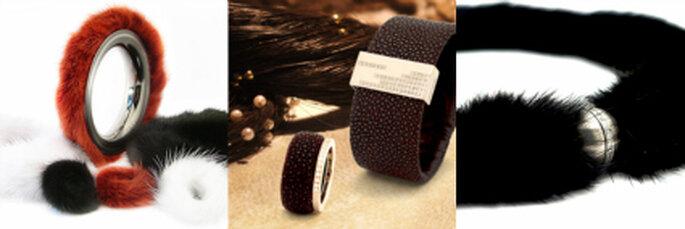Unikat-Stücke aus Titan mit Nerz und Stachelrochen-Leder