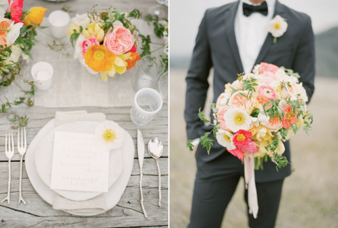 Decoración de boda en colores coral, rosa y gris. Fotografía KT Merry