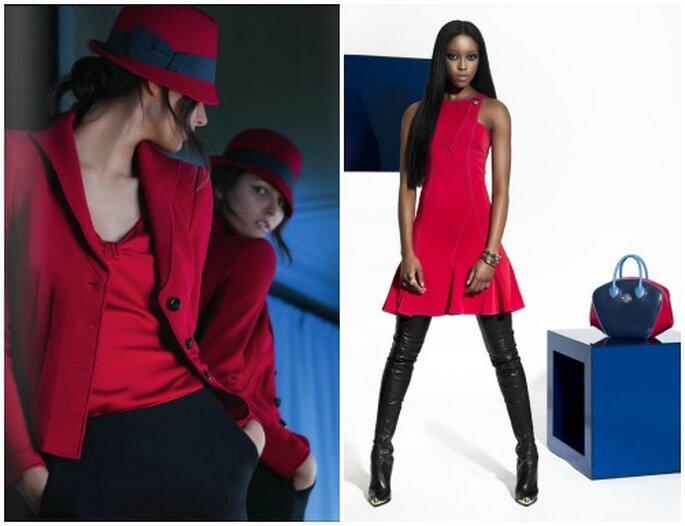 Il rosso è ancora uno dei colori di tendenza. Tailleur Giorgio Armani, abito Versace.