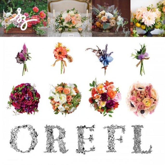 Collage de inspiración con flores para tu boda - Fotos: betype.com, brides.com - Diseño de Raisa Torres para SZ Eventos