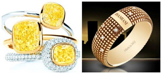 Diamanti gialli montati su anelli di platino e brillanti firmati Tiffany. Fede in oro giallo e diamanti Damiani Metropolitan