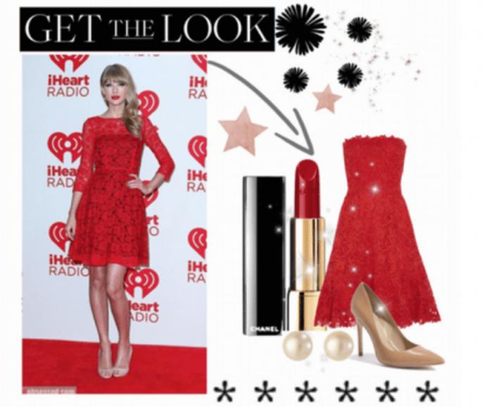 Look en tendencia para invitada de boda inspirado en Taylor Swift - Foto Collage hecho con Polyvore
