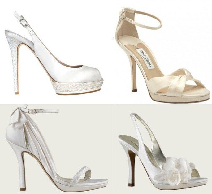 Le satin fait merveille sur les chaussures de mariée. De droite à gauche : Le Silla, Jimmy Choo, Pura Lopez