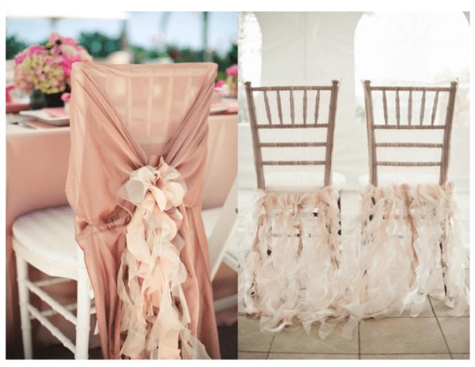 decoracin para sillas en el banquete de bodas foto pictillo y harwell photography
