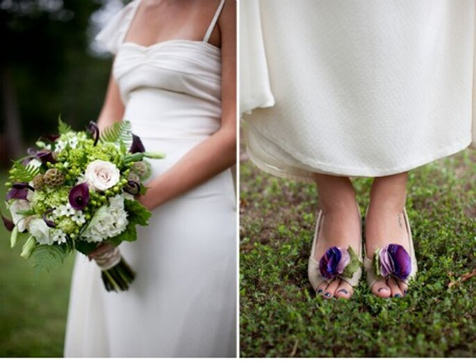 Detalles de trajes de novios en tonos violetas - Foto: Green Wedding Shoes