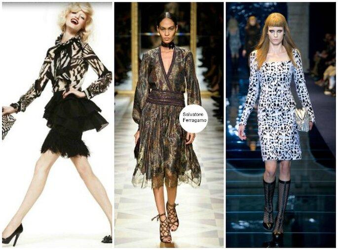 La stampa continua ad essere amata dagli stilisti italiani anche per la stagione fredda. Da sinistra Roberto Cavalli, Salvatore Ferragamo, Versace.