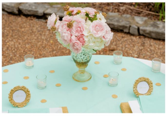 Decoración de boda en color dorado - Foto Twila's Photography