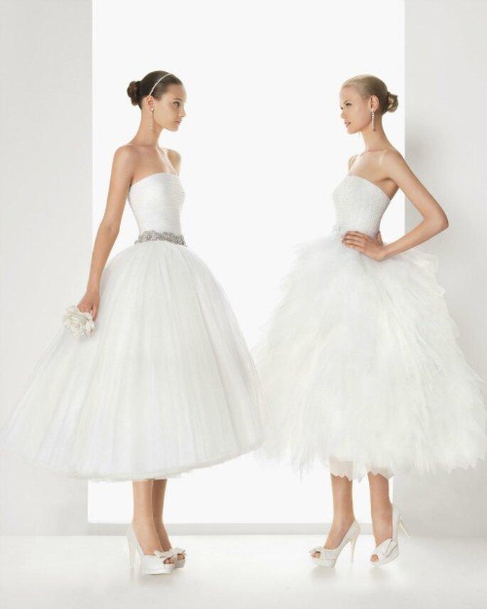 Robes de mariée Rosa Clara à la jupe vaporeuse façon danseuse étoile. Photo Rosa Clara 2013.