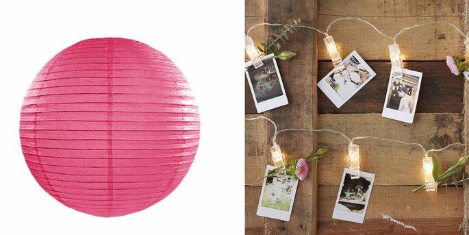 Esfera de papel para iluminar fucsia 35cm