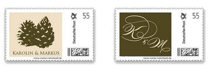 Briefmarken für eine winterliche Hochzeit.
