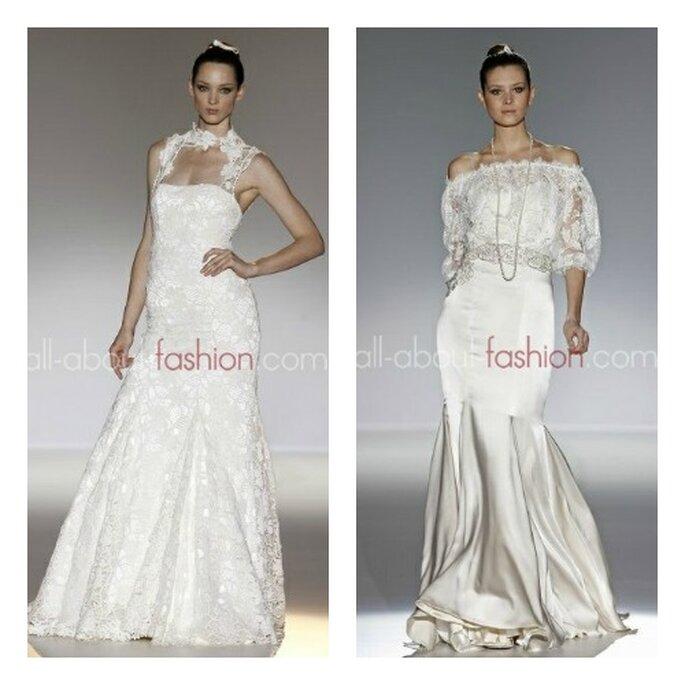 Deux robes de mariée Franc Sarabia 2013 : a gauche, motifs floraux et dentelle; a droite, coupe sirène avec bustier en dentelle transparente et manches ¾ - Photo: all-about-fashion.com