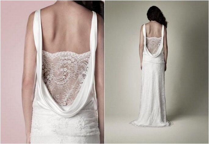 Vestido de novia estilo años 20 de Charlie Brear. Vista de la espalda. Fotos: www.charliebrear.com - www.pinterest.com/charliebrear/lace/