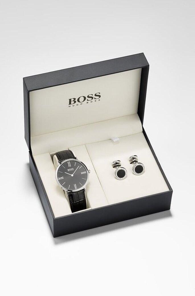 Kit de reloj negro y mancuernillas para regalar a papá