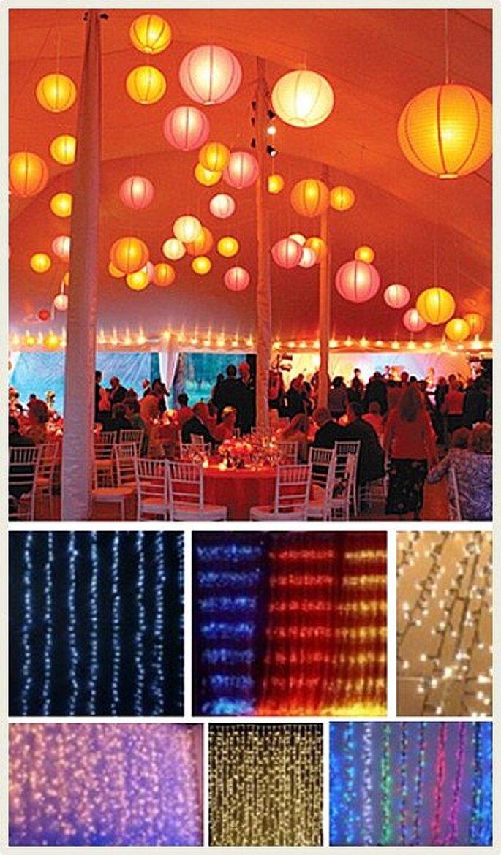 Las bombillas eléctricas al aire libre dan posibilidad de crear un ambiente cálido y acogedor en la celebración