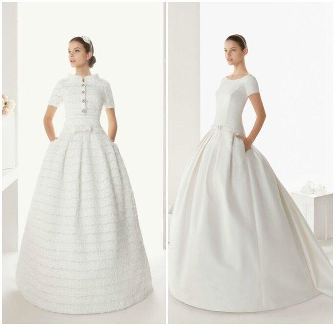 Deux robes de mariée à manches courtes Rosa Clarà 2013. Photo: www.rosaclara.es