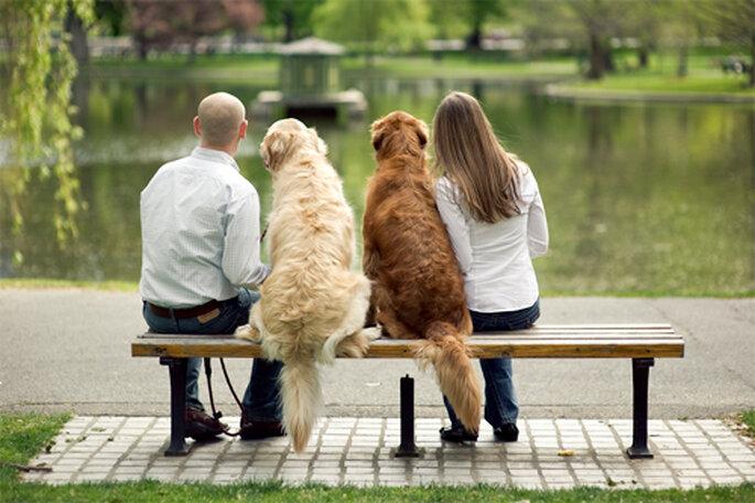 Pareja sentada a lado de sus perros - Foto: Alexandra Roberts