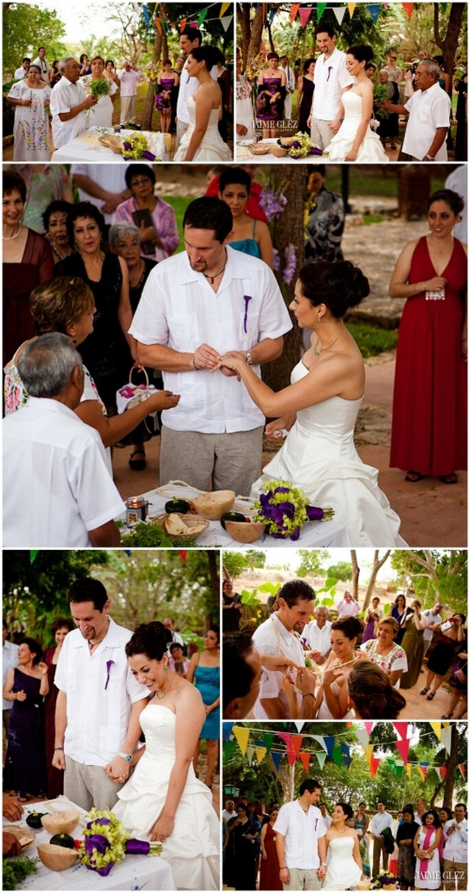 Boda con ceremonia tradicional maya de Imaltzin & Steve. Fotografía de Jaime Glez