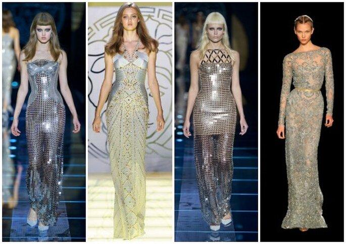 Quattro proposte di abiti silver da osare per chi non ama gli abiti da sposa convenzionali! Atelier Versace e ultimo a destra Elie Saab Collezione Haute Couture AI 2012-13.