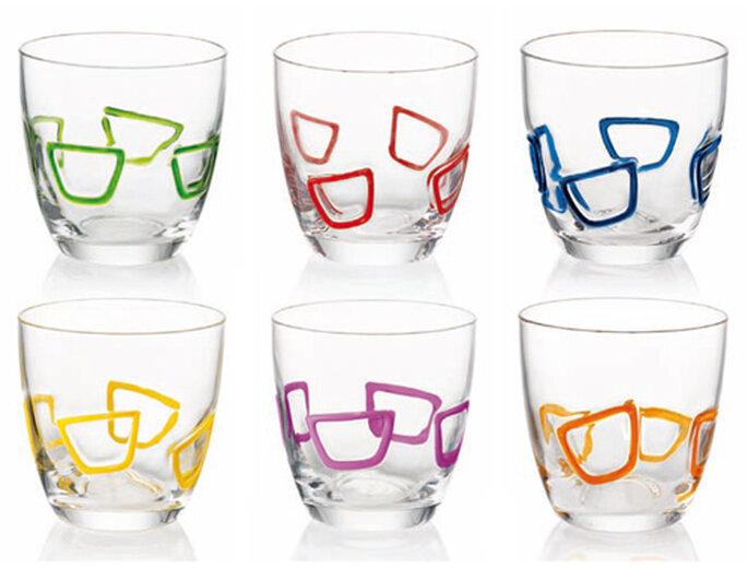 Bicchieri in vetro by Roberto Giacomucci per Guzzini. Foto: Guzzini