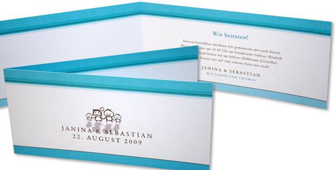 Modernes und farbenfrohes Kartendesignvon hochzeitseinladungen.de
