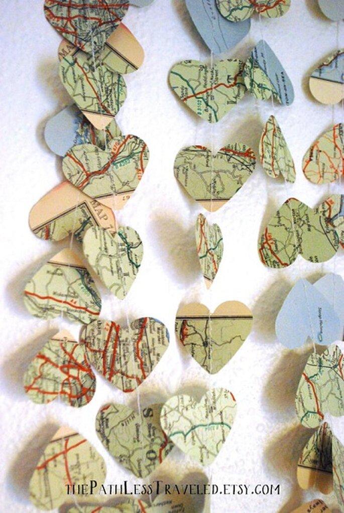 Adornos de mapas vintage. Foto: ThePathLessTraveled