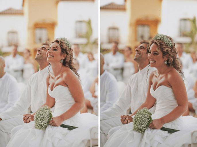 Utiliza una corona de flores para tu boda. Fotografia  Pedro Bellido