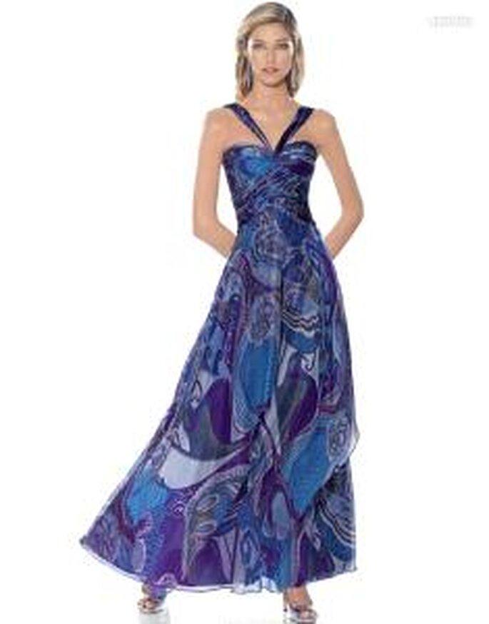 Pronovias Cóctel 2010 - Amatista, vestido largo en colores morados y azules