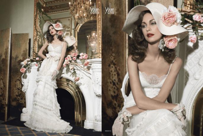 Vestido de novia 2014 acompañado por una linda pamela con detalles de flores - Foto YolanCris